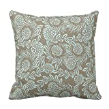 ziHeadwear Vintage Tan and Blue Floral and Damask Throw Pillow Cover Decorative Square Canvas Couch Cushion Cover Case with Zipper 18 x 18