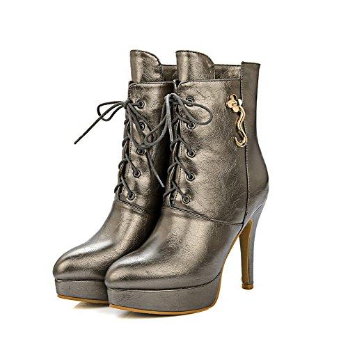 VogueZone009 Damen Blend-Materialien Stiletto Rein Niedrig-Spitze Schnüren Stiefel, Golden, 37