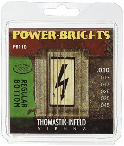 Thomastik 677027 Saiten für E-Gitarre Power Brights Series Regular Bottom, Satz PB110 Medium Light .010-.045w -