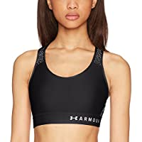 Under Armour Armour Mid Keyhole Mesh, Reggipetto Donna, Nero, M