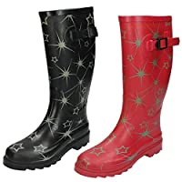 Spot On Womens/Ladies Star Pattern Rubber Wellington Boots