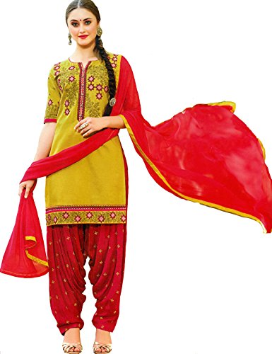 Exotic India Yellow-Cream Patiala Salwar Kameez Suit with Embroidered Florals and Bootis - Green Patiala Suit