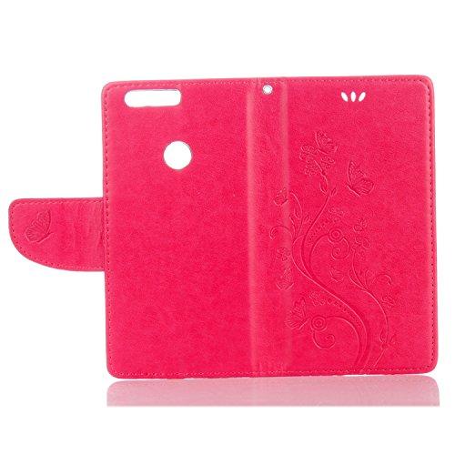 Cover Protettiva Huawei Honor 8, Alfort 2 in 1 Custodia in Pelle Verniciata Goffrata Farfalle e Fiori Alta qualità Cuoio Flip Stand Case per la Custodia Huawei Honor 8 Ci sono Funzioni di Supporto e P Rosso