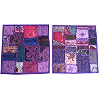 "Mogul Interior 2Pcs Indian Handmade Decorative Sequin Patchwork Embroidery Floor Home Decor Pillow Case Cushion Cover 16X16"" (Purple-5)"