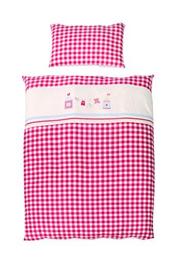 roba Bettwäsche 2-tlg, Kollektion 'Sunny Day rot', Kinderbettwäsche 100x135 cm, 100% Baumwolle, Decken-& Kissenbezug für Babys & Kinder (Rote Baby-bettwäsche)