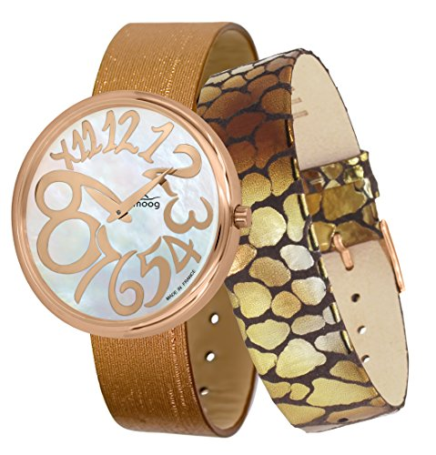 Moog Paris Ronde Art-Deco Women's Watch with White Mother of Pearl Dial, Copper Strap in Jeans - M41672-F41