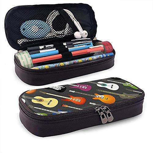Federmäppchen Farbe Akustik- und E-Gitarren Big Capacity Pencil Bag Makeup Pen Pouch