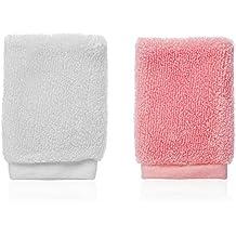 Lesanté Naturfaser Gesichtspeeling Fingerhandschuh I Reinigung und Peeling (Weiß/Rosa)