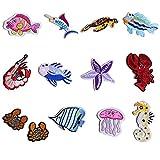 Gosear 13 Stück Exquisit DIY Kleidung Patches Aufkleber Mini Mode Cartoon Fisch Krabben Seestern Muster Bestickt Aufbügeln Patch für T-shirt Jeans Hüte Taschen Kleidung Handwerk