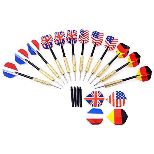 GWHOLE 12 Dartpfeile Steeldarts mit unterschiedlichen Nationalfahnen, Metallspitzen