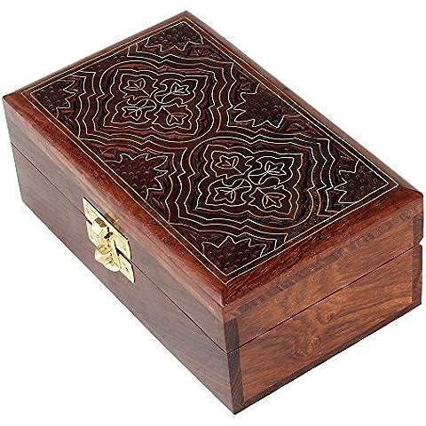 Tallado Joyero baratija indio mano Rosewood Material de decoración del hogar caja de madera caja de joyas antiguas