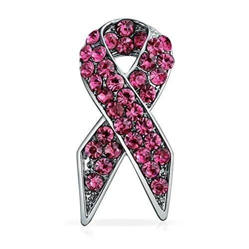 Bling Jewelry Pink Ribbon Brustkrebsüberlebender Rosa Pin Strass Brosche Für Damen Emaille Versilbert
