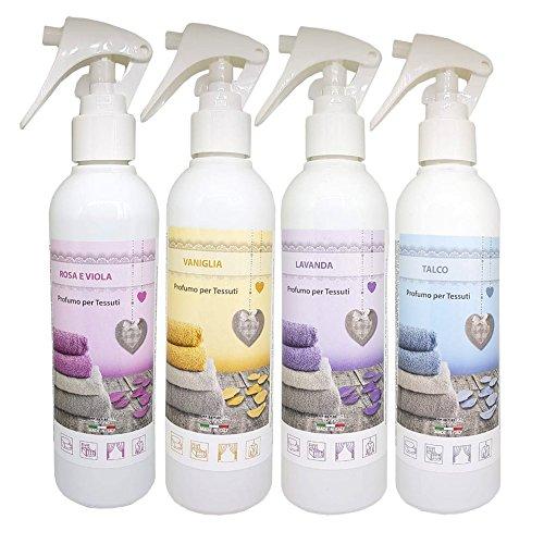 DEO TESSUTI SET, Textilerfrischer Lufterfrischer, 4 X 250 ml,Vanille, Lavendel, Talkum, Rosa und Veilchen, MADE IN ITALY