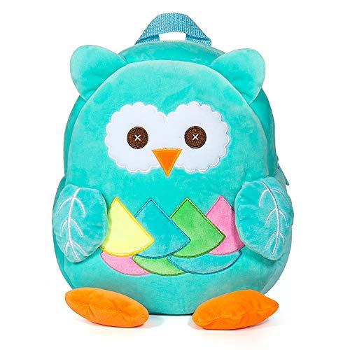Czemo Kinderrucksack Kindergartentasche für Jungen Mädchen Schultasche Plüsch Babyrucksack Sicherheitsrucksack für Kinder ab 1-3 Jahr (Blaue Eule)