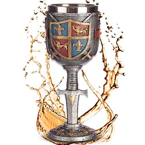 Deko Kelch ''Sword and Shield'' | Mittelalterlicher Weinkelch mit Wappen (160ml) | Höhe 18 cm |...