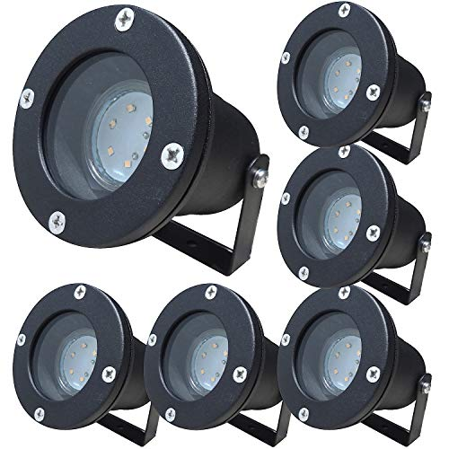 6 Stück IP68 SMD LED Boden Einbauleuchte Sophie 230 Volt 3 Watt Farbe Schwarz Lichtfarbe Warmweiß -