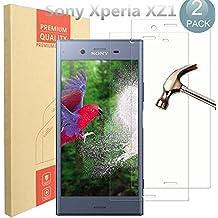 [2-Unidades] Sony Xperia XZ1 Protector de Pantalla, PULEN Vidrio Cristal Templado Vidrio Templado [EASY-INSTALL alas][2.5d Borde redondo][9H Dureza][Alta Definicion][Garantía de por vida]