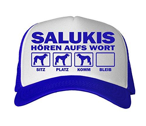 SIVIWONDER CAP MESH - SALUKI Salukis Persischer Windhund befedert kurzhaarig - HÖREN aufs WORT - Baumwoll Trucker royalblau Saluki Hat