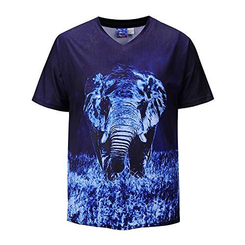 Luian Unisex Tema 3D Impreso Camisetas De Manga Corta Casual Graphics Tees Top For Men Women Boy Elefante XXL