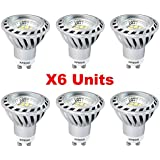 Xpeoo® 6 unidades de Regulable Bombilla Lámpara 6W LED GU10 Igual a Halógena de 50W 520lm, Dimmable Foco Luz Spot Down light lamp bulbs, Blanco Cálido Spotlights 2700-3000k AC 85-265V