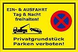 Aufkleber Park-verbot - Parken verboten - Ein- und Ausfahrt frei-halten - 15x10cm – S00020K-C +++ in 20 Varianten erhältlich
