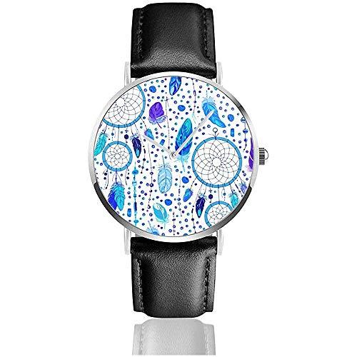 Patrón de atrapasueños y Plumas. Beads On A New - Relojes de Pulsera con Correa de Cuero Negro Retro para Hombres