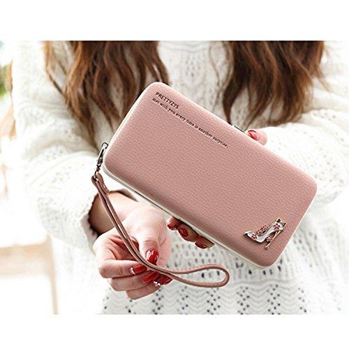 iPhone 8 Hülle, iPhone 8 Case, iPhone 8 Leder Wallet Tasche Brieftasche Schutzhülle, Sunroyal Malerei Rose Muster PU Lederhülle Flip Hülle mit Stand Ständer Etui 9 Karten Slot Kartenfach Kartenfächer  Pink02