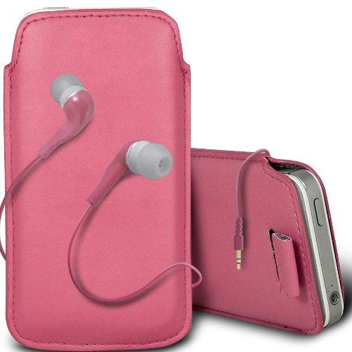 Gadget Giant Coque pour iPhone 5 Rose layette Étui en cuir PU avec languette pour & assorti Hansfree stéréo intra-auriculaires 3,5 mm