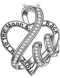 """NINASUN """"Ti amo fino alla luna e ritorno"""" 925 Argento Sterlina Cubic Zirconia Donna Collana Pendente Pacco Regalo"""