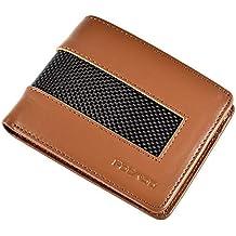 b8b8c0edb6cce POCARDO Stripe Kompakte Herren Geldbörse aus Leder   Carbon - Exklusives  Portemonnaie für Männer - Schwarz