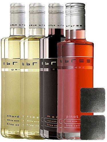 Bree Wein alle 4 Sorten jeweils 2 Flaschen + 2 Schieferuntersetzer quadratisch ca. 9,5 cm