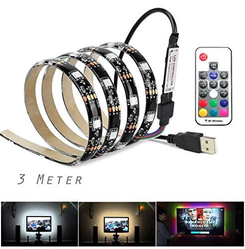 Vansuky USB Tiras LED Iluminación, SMD 5050 180LEDs 3 metro\9.84ft RGB tira flexible de LED, Control remoto incl, Tira de luz LED para decoración, Tira llevada impermeable IP65, Luz de fondo de la TV