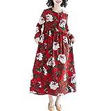 SUNNSEAN Damen Kleider Beiläufig Wild Dress Frauen Casual Baumwolle Leinen Flora Printing Swing Long Maxikleid Einfarbig Mini Pakethüftekleid