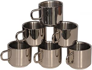 eKitchen Double Walled Stainless Steel Coffee and Tea Mug (Silver) - Set of 6