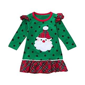 POLP Niño Navidad Ropa niñas Bebe Navidad Regalo Estampado de Navidad Manga Larga Santa Claus Camiseta Vestido de Manga Larga con Estampado de Dibujos Animados Falda 12M-5años 1pc