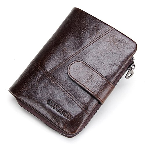 Contacts Mens Real Cowhide Leather Zipper Wallet Card Holder Coin Purse Dark Brown (Wallet Zipper)