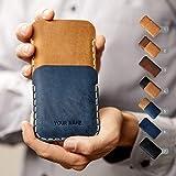 Hülle für iPhone Leder Etui Tasche Cover Case personalisiert durch Prägung mit ihrem Namen, ideal für XS Max XR X 8 7 plus 6 6s + 5 5s 5c SE Handytasche