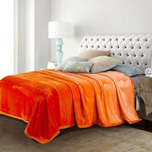 Simmia Home Decke Flanell Babydecke warme leichte Plüsch werfen Fleece Couch Schlafsofa zu Decken Orange König Größe 200 x 230 cm (Werfen Orange Plüsch)