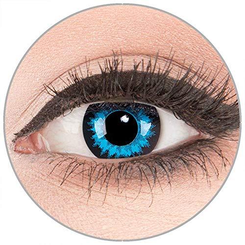 Farbige Kontaktlinsen zu Fasching Karneval Halloween in Topqualität von 'Glamlens' ohne Stärke 1 Paar Crazy Fun blaue schwarze 'Blue Crystal' mit Behälter