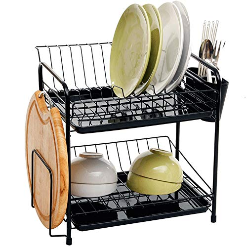 Rejilla de Drenaje de Gran Capacidad de Doble Capa - Rejilla multifunción de Cocina - con Bandeja de Drenaje/vajilla fácil de clasificar (Negro)