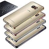 Eximmobile - Chrom Silikon Schutzhülle + Panzerfolie für Samsung Galaxy S6 Edge in Gold | Handytasche + Schutzfolie Displayschutz Panzerglasfolie | Handyhülle mit Panzerglas | Case Cover Folie