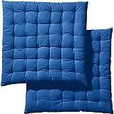 REDBEST Stuhlkissen Sitzkissen Stuhlpolster Sitzauflage - 2er-Pack - 40x40 cm - in Vielen Farben - Baumwolle - blau