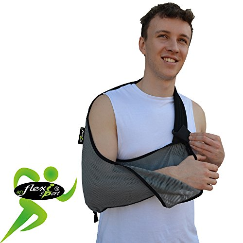 Price comparison product image Arm support,  shoulder sling (black trim) ONE-SIZE sporty look,  big enough for the largest arm,  reduces for youngsters. LUXURIOUSLY soft-stretch,  ultra-light airflow,  deep pocket contours the arm. Reversible L or R fit. Unisex. (GREY / black trim)