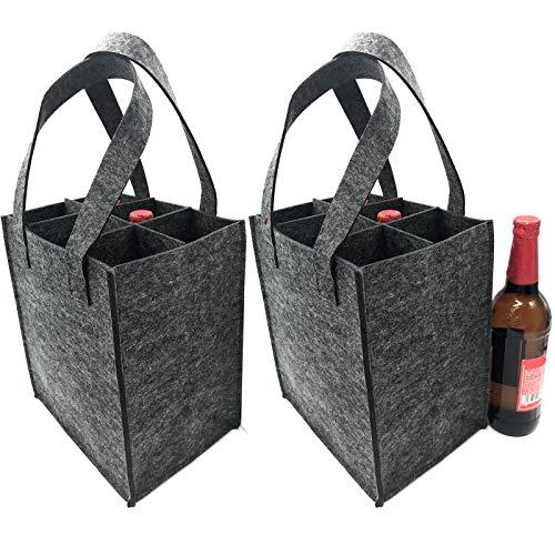 iZoeL Flaschentasche Flaschenträger Bierträger Filztasche mit seperate Trennwand für 6 Flaschen/9 Flaschen perfekt für Piknik Reise Party (6 Flaschen)