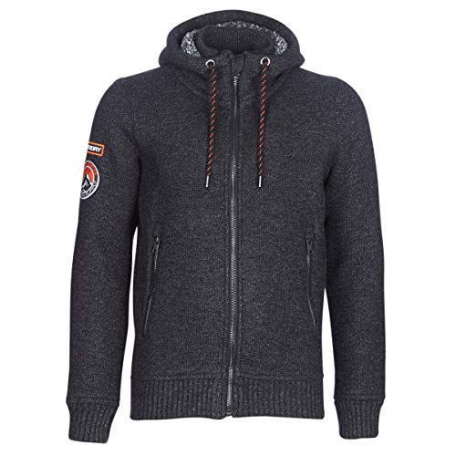 Superdry Expedition Ziphood in Black/Charcoal Twist Small Lined Hooded Full Zip Sweatshirt