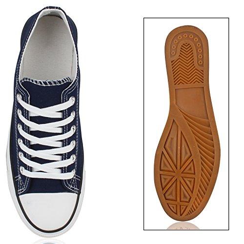 Sportliche Damen Herren Low Sneakers Bequeme Schnürer Freizeit Schuhe Dunkelblau