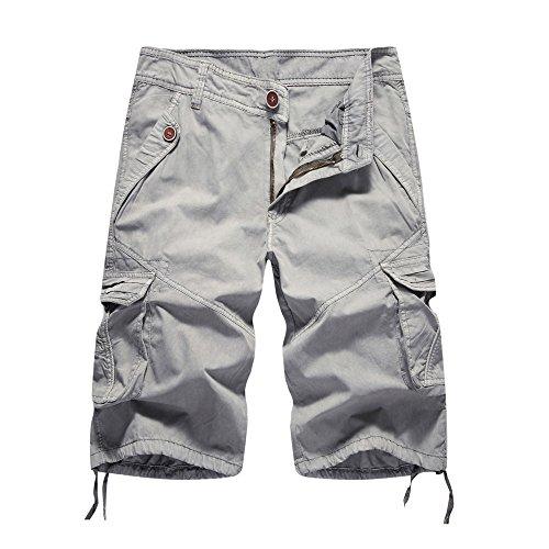 Pantaloni casual tinta unita da uomo, beladla pantaloni sportivi da palestra per allenamento fitness da uomo corti sciolte di lavoro/pantaloncini - per estate - grigio (30-40)