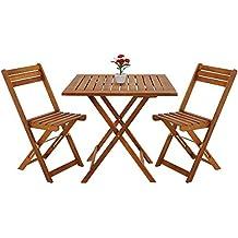 Deuba Salon De Jardin Pliant Style Bistrot Avec 2 Chaises Et 1 Table En Bois D
