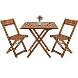 Deuba Salon de Jardin Pliant Style bistrot avec 2 chaises et 1 Table en Bois d'acacia