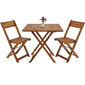 Deuba Balkonset 3-TLG Akazien Holz 2X Klappstuhl + 1 Tisch 60x60cm klappbar Balkon Garten Möbel Bistroset Sitzgruppe